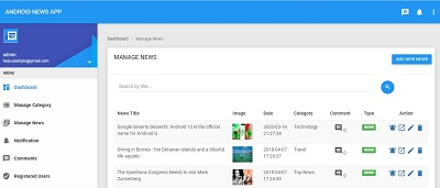 Laravel News app Admin Dashboard